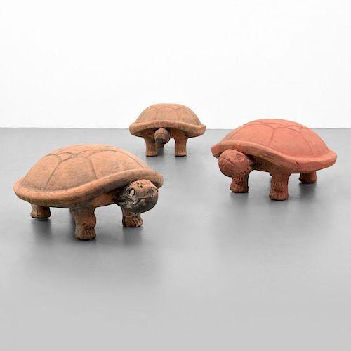 3 Large Terracotta Garden Turtles