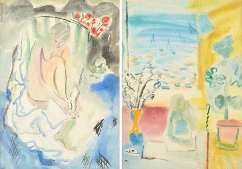 2 Gertrude Schweitzer Watercolor Paintings