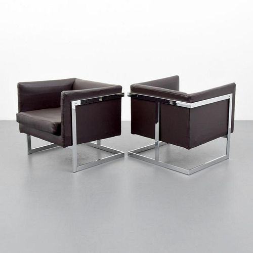 Pair of Milo Baughman Model 3426 Cube Lounge Chairs