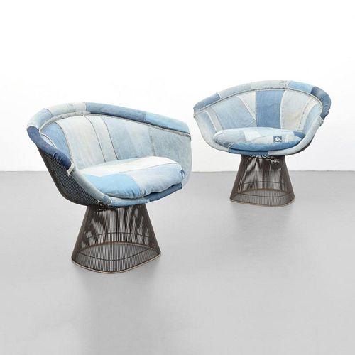 Pair of Warren Platner Bronze Finish Arm Chairs