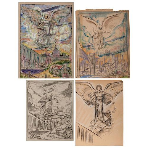 Sketches of Allegories of Victory, Likely by Richard W. Baldwin