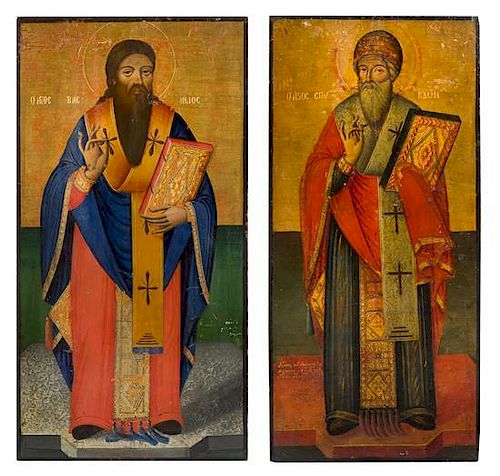 A Pair of Eastern European Ecclesiastical Painted Panels Height 37 x width 17 1/2 inches.