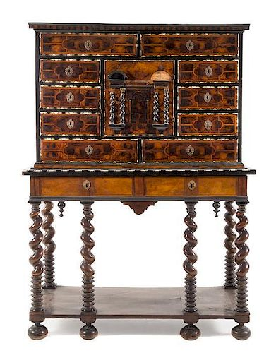 * An Italian Bone Inlaid Burl Walnut Cabinet on Stand Height 66 7/8 x width 48 3/8 x depth 21 1/8 inches.