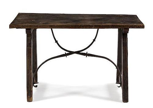 * A Spanish Baroque Walnut Trestle Table Height 25 1/2 x width 42 1/2 x depth 23 1/8 inches.