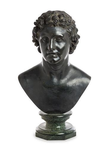 * A Continental Bronze Bust Height 28 1/2 inches.