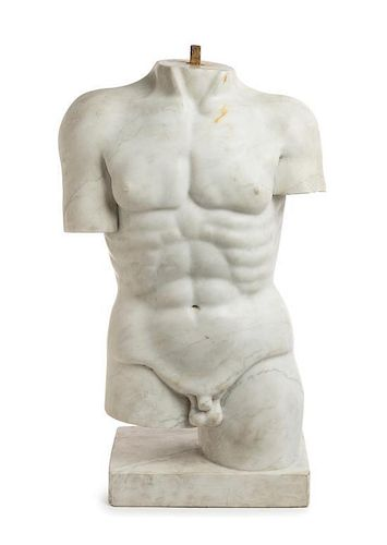 A Continental Marble Torso Height 25 inches.