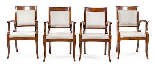 * A Set of Four Italian Mahogany Armchairs Height 36 1/2 x width 24 x depth 24 inches.