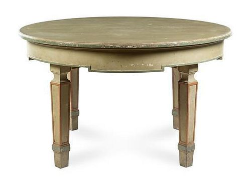 * An Italian Painted Extension Dining Table Height 34 x diameter of top 56 1/2 inches (closed).