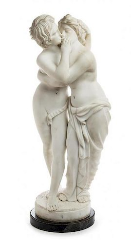 A Continental Carved Marble Figural Group Height overall 34 1/2 inches.