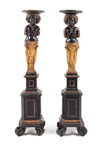 A Pair of Venetian Painted and Gilt Figural Pedestals Height 53 1/2 inches.