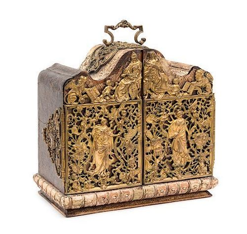 A Swiss Brass Mounted Table Casket Height 13 1/2 x width 12 3/4 inches.