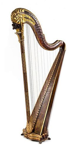 A Continental Painted and Parcel Gilt Harp Height 64 1/2 inches.