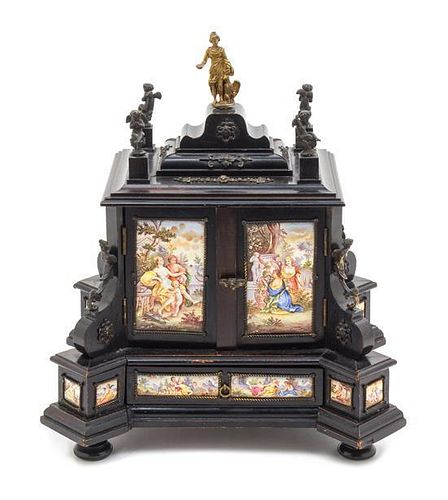 An Austrian Gilt Bronze Mounted Enameled and Ebonized Table Cabinet Height 11 1/4 x width 10 x depth 8 1/2 inches.