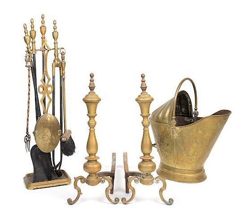 A Neoclassical Brass Fire Fender and Fireplace Tools Width of fire fender 53 inches.