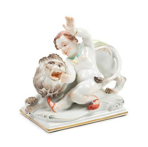 A Meissen Porcelain Figure Height 4 7/8 x width 5 1/8 inches.