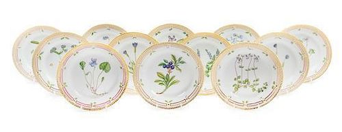 A Set of Twelve Royal Copenhagen Flora Danica Salad Plates Diameter 7 1/2 inches.