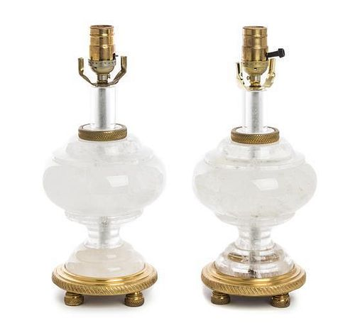 A Pair of Rock Crystal Lamps Height overall 20 inches.