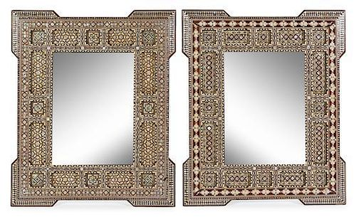 A Pair of Moorish Inlaid Mirrors Height 35 1/2 x width 29 1/2 inches.