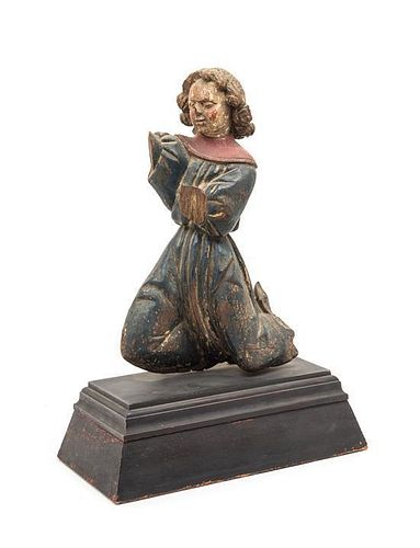 * A French Carved and Painted Wood Figure Height 16 1/2 inches.
