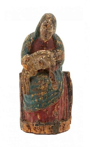 * A French Carved and Painted Wood Figure of the Pieta Height 10 inches.