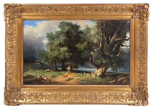 * Marie Claudine Lezay-Marnesia (nee de Nettancourt-Vaubecourt), (French, 1755-1793), Untitled (Landscape with Figures)