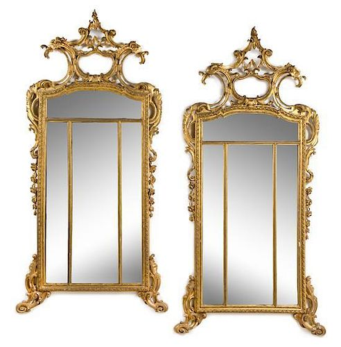 A Pair of Large Regence Style Giltwood Pier Mirrors Height 95 x width 46 1/2 inches.