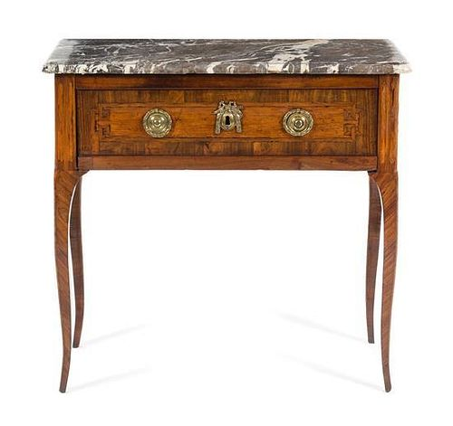 A Louis XV/XVI Transitional Parquetry Commode en Console Height 33 x width 34 7/8 x depth 14 3/4 inches.