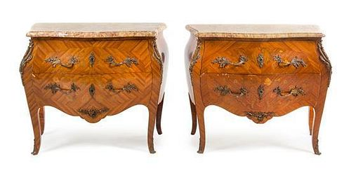A Pair of Louis XV Style Marquetry Commodes Height 31 x width 36 1/2 x depth 18 inches.