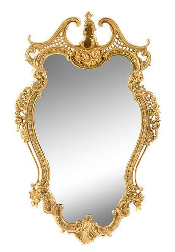 A Pair of Louis XV Style Gilt Bronze Mirrors Height 35 inches.