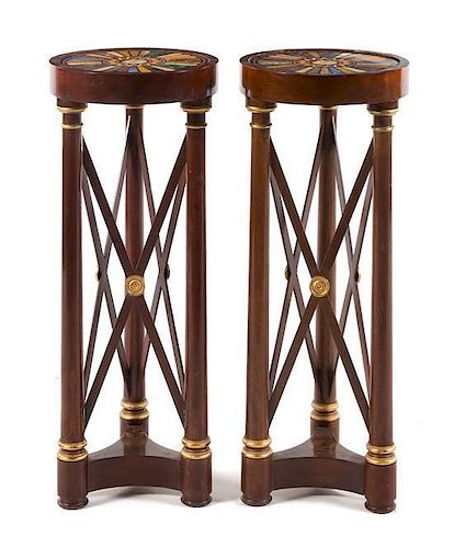 A Pair of Empire Style Specimen Marble and Mosaic Inset Mahogany Pedestals Height 37 1/8 x diameter 14 1/4 inches.