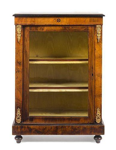 A Napoleon III Gilt Metal Mounted Burlwood Cabinet Height 42 1/2 x width 30 x depth 12 3/8 inches.