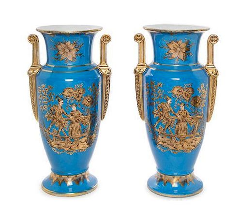 A Pair of Paris Porcelain Style Porcelain Vases Height 16 3/4 inches.
