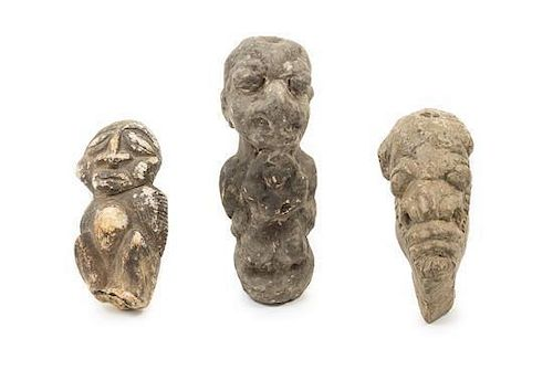 * A Temne Stone Figural Group Height of tallest 8 1/2 inches.