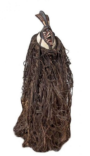 * A Bobo Men's Wood Mask and Raffia Costume Length overall 76 inches.
