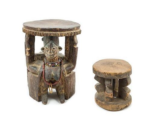 * Two Wood Stools Height of taller example 14 inches.