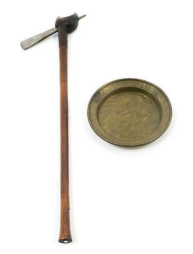 * An African Wood and Iron Axe Length 26 3/8 inches.