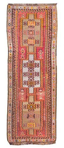 A Kilim Wool Runner 11 feet 11 inches x 4 feet 7 inches.