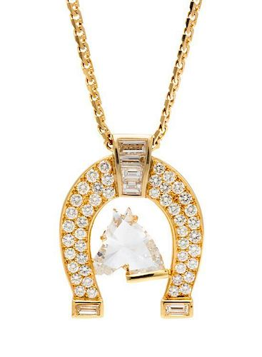 A Yellow Gold and Horse Head Cut Diamond Horseshoe Motif Necklace, 8.20 dwts.