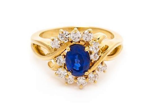 An 18 Karat Yellow Gold, Sapphire and Diamond Ring, Kurt Wayne, 5.80 dwts.