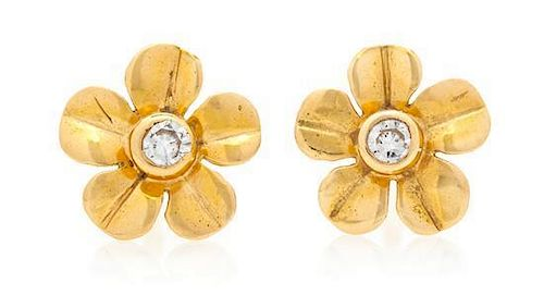 A Pair of 18 Karat Yellow Gold and Diamond Flower Motif Earrings, Tiffany & Co., 1.00 dwts.