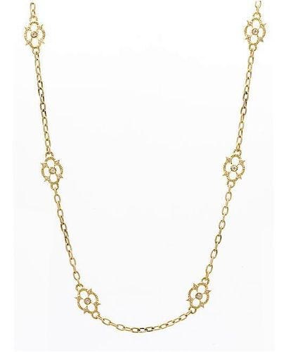An 18 Karat Yellow Gold and Diamond 'Couture Flower' Station Necklace, Judith Ripka, 11.80 dwts.