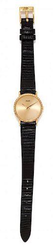 An 18 Karat Yellow Gold and Diamond Wristwatch, Piaget,