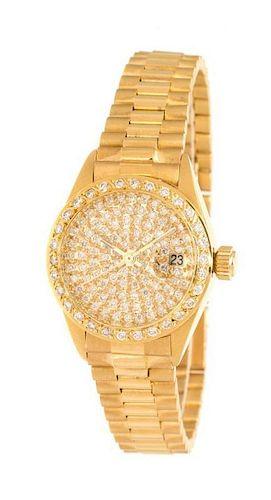 An 18 Karat Yellow Gold and Diamond Wristwatch, Italian, 53.00 dwts.