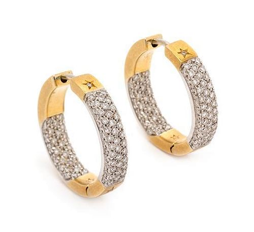 * A Pair of 18 Karat Bicolor Gold and Diamond Hoop Earrings, H. Stern, 6.30 dwts.