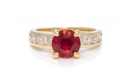 An 18 Karat Yellow Gold, Ruby and Diamond Ring, 3.20 dwts.