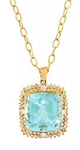 A 14 Karat Yellow Gold, Aquamarine and Diamond Pendant Necklace, 20.20 dwts.