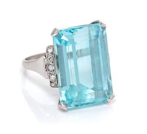 A Platinum, Aquamarine and Diamond Ring, 7.90 dwts.
