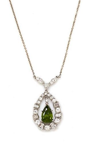 A 14 Karat White Gold, Treated Color Diamond and Diamond Necklace, 4.40 dwts.