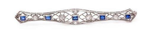 A Platinum, Diamond, and Sapphire Bar Brooch, 7.00 dwts.
