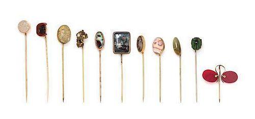 A Collection of Antique Multigem Stickpins, 23.10 dwts.